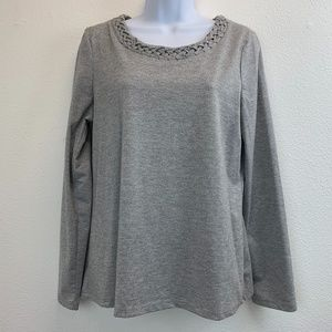 Charter Club Silver Shimmery Long Sleeve T-Shirt